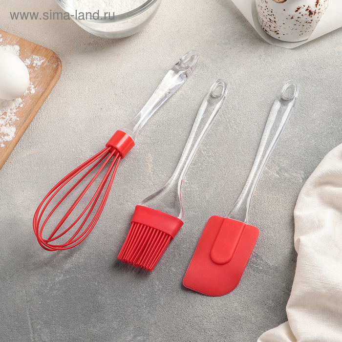 Набор для выпечки «Лёд», 3 предмета: лопатка 19 см, кисть 17,5 см, венчик 25 см, цвет МИКС