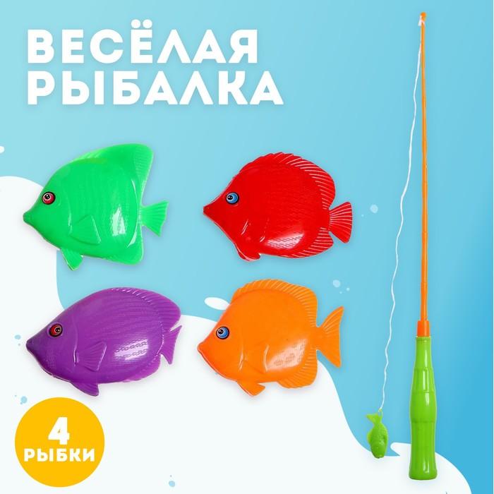 Игра магнитная Весёлая рыбалка удочка, 4 рыбки