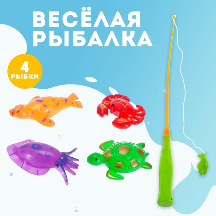 Игра Весёлая рыбалка удочка, 4 рыбки