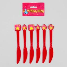 Набор пластиковых ножей «Смайлы», набор 6 шт., цвет красный Ош
