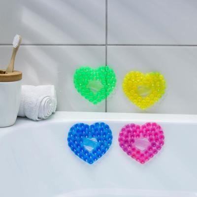 Мини-коврик для ванны «Сердце», 8×9 см, цвет МИКС - Фото 1