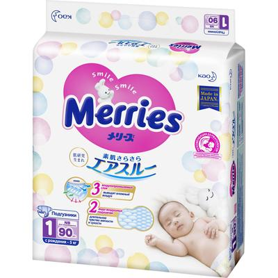 Подгузники Merries (до 5 кг), 90 шт - Фото 1