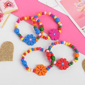 Браслет детский «Выбражулька» цветы с бусинами, цвет МИКС Ош