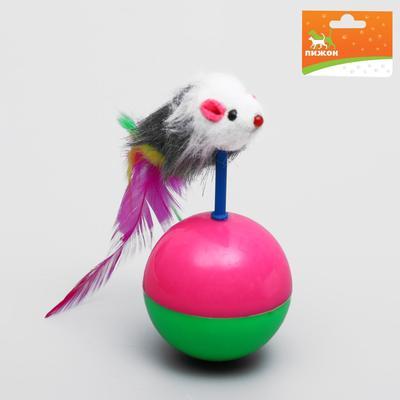 Мышь-неваляшка на шаре, 12 х 5 см, микс цветов - Фото 1