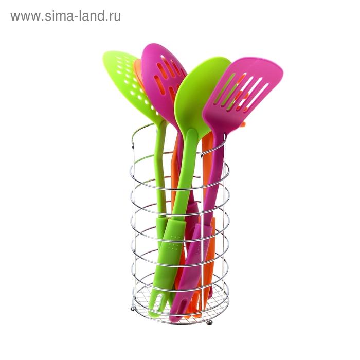 """Набор кухонных инструментов """"Радуга"""", 6 предметов на подставке, цвет МИКС"""