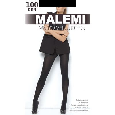 Колготки женские MALEMI Micro Velour 100 den, цвет чёрный (nero), размер 2 - Фото 1
