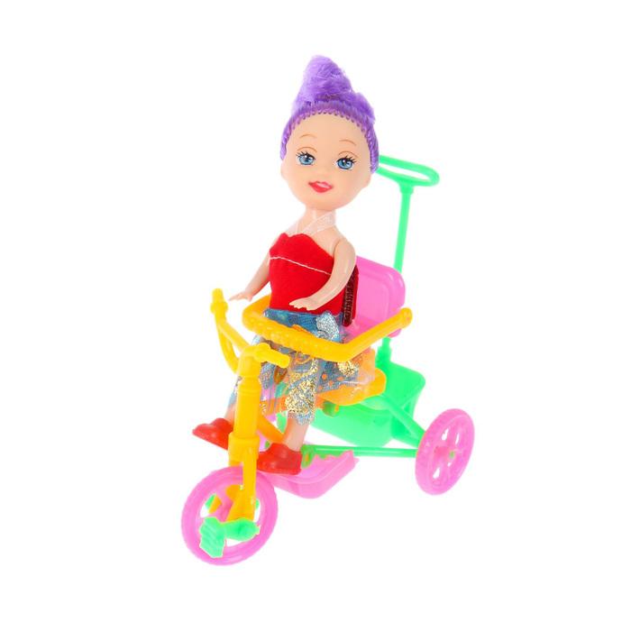 "Кукла малышка ""Валентина"" на велосипеде, МИКС"