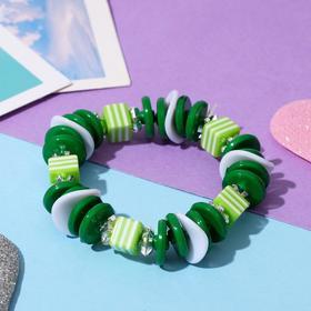 Браслет 'Выбражулька' полосатый кубик, цвет зеленый Ош