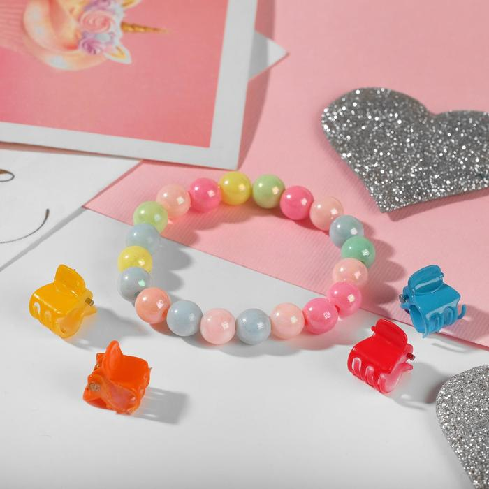 Комплект детский Выбражулька 5 предметов 4 крабика, браслет 2 нити, радуга, цвета МИКС