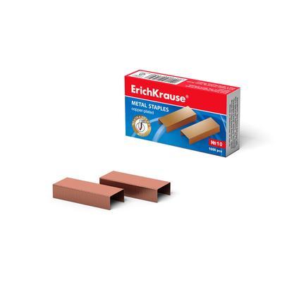 Скобы для степлера Erich Krause, № 10, омедненные, 1000 штук