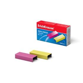 Скобы для степлера Erich Krause, № 10, омедненные, цветные, 1000 штук Ош