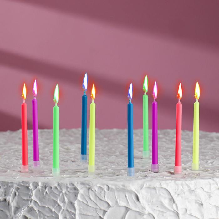"""Свечи восковые для торта """"Цветное пламя"""" (набор 10 шт)"""