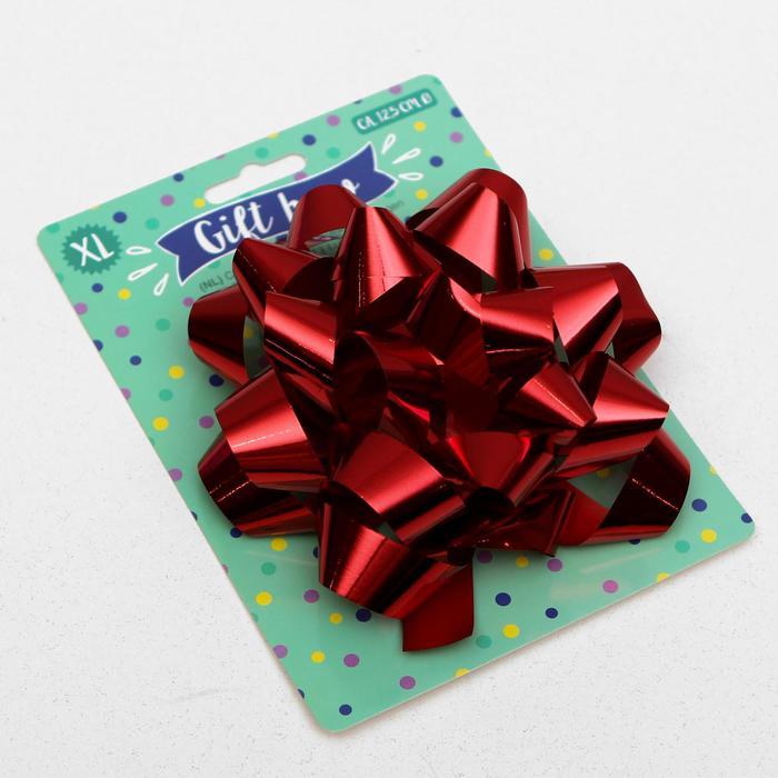 Бант-звезда № 14 металлик, цвет красный