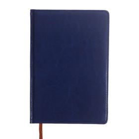 Ежедневник полудатированный, А5, 193 листа, в линейку, золотой срез, перфорированный угол, карта, ляссе, обложка из пвх, синий Ош