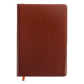 Ежедневник полудатированный, А5, 193 листа, в линейку, золотой срез, перфорированный угол, карта, ляссе, обложка из пвх, коньяк Ош