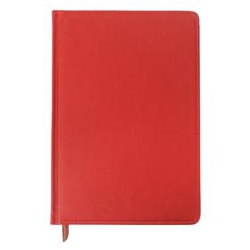 Ежедневник полудатированный, А5, 193 листа, в линейку, золотой срез, перфорированный угол, карта, ляссе, обложка из пвх, красный Ош