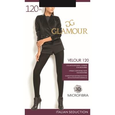 Колготки женские GLAMOUR Velour 120 den, цвет чёрный (nero), размер 2