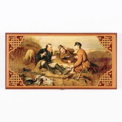 """Нарды """"Охотники на привале"""", деревянная доска 40х40 см, с полем для игры в шашки"""