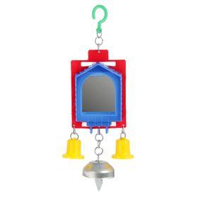 Игрушка для птиц зеркало двойное с металлическим и пластиковыми колокольчиками №2,  микс Ош