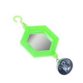 Игрушка для птиц зеркало с металлическим колокольчиком №2  микс цветов Ош