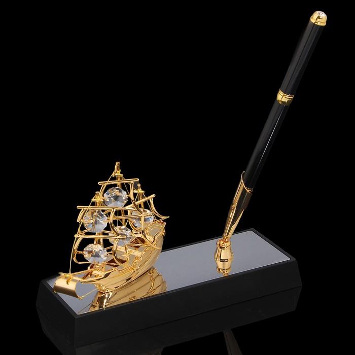 Ручка на подставке «Парусник», 16,5×6×20 см, с кристаллами Сваровски