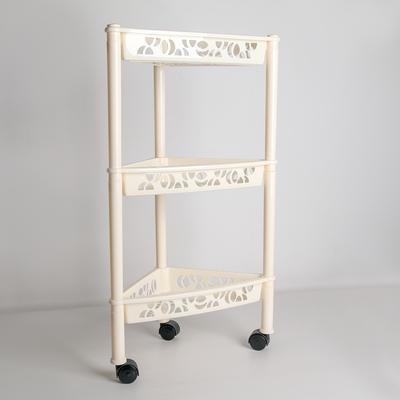 Этажерка напольная угловая 3-х секционная Prima, на колёсиках, цвет МИКС