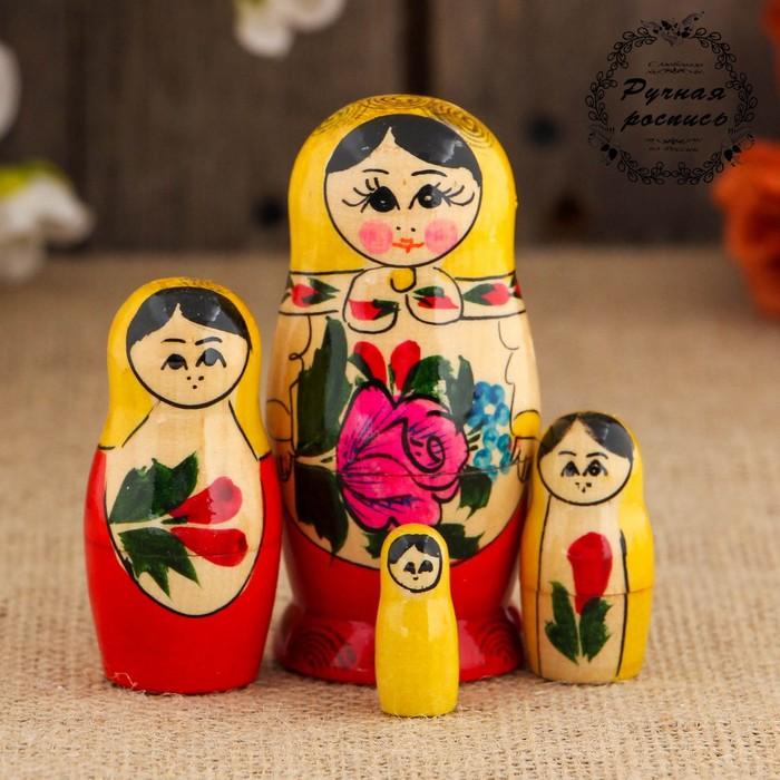 Матрёшка Семёновская, желтый платок, 4 кукольная, 9 см, ручная работа