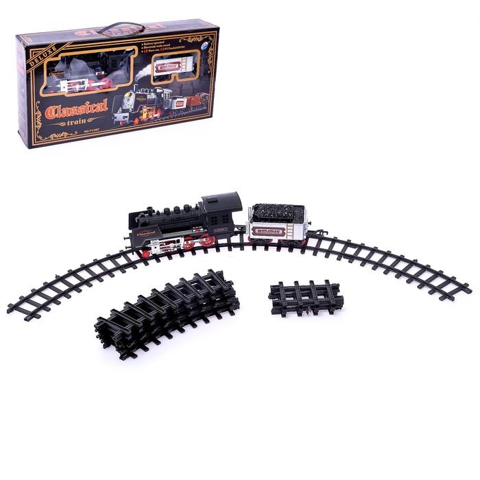 """Железная дорога """"Классический паровоз"""", 18 деталей, световые и звуковые эффекты, с дымом, работает от батареек, длина пути 420 см"""