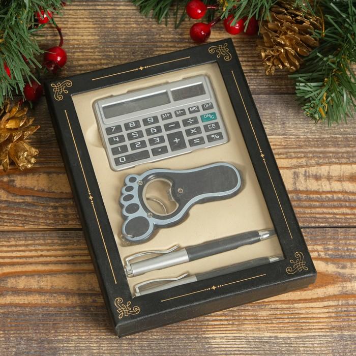 Набор подарочный 4в1 2 ручки, калькулятор, открывалка
