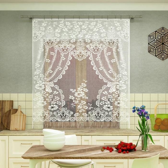 Штора кухонная 200х170 см, белый, 100 пэ, без шторной ленты
