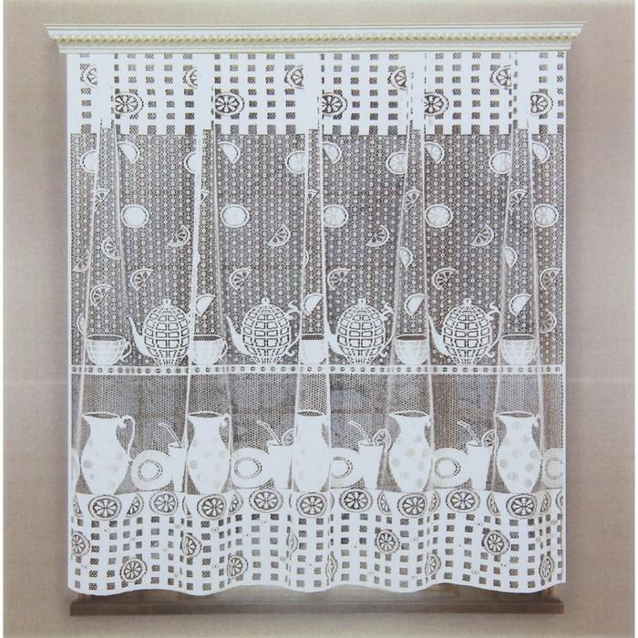 Штора кухонная 170х170 см, белый, 100 пэ, без шторной ленты