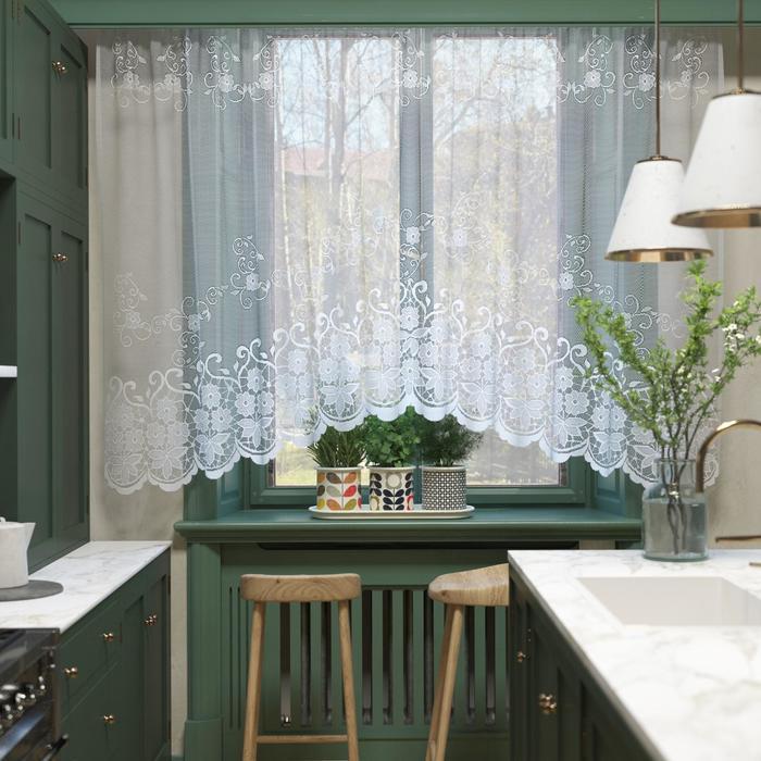 Штора кухонная 305х165 см, белый, 100% п/э, шторная лента