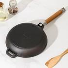 Сковорода чугунная, d=22 см съёмная ручка - Фото 3