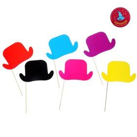 Аксессуары для фотосессии «Шляпка», на палочке, набор 6 шт., цвета МИКС Ош