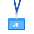 Бейдж-карман горизонтальный, 90 х 54 мм, синий, с синей лентой, жёсткокаркасный