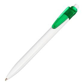 Ручка шариковая, автоматическая, корпус белый с зелёной вставкой, стержень синий 0.5 мм