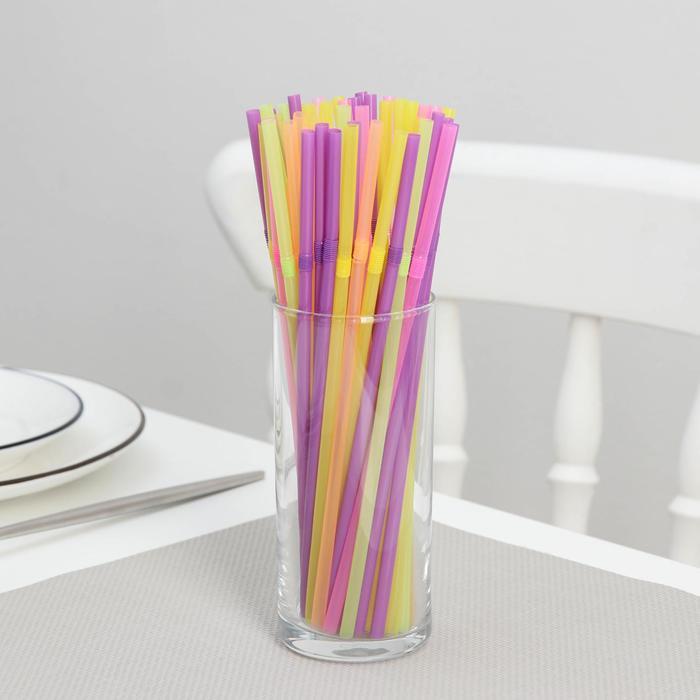 Трубочки одноразовые для коктейля, 0,521 см, 50 шт, с гофрой, цвет МИКС