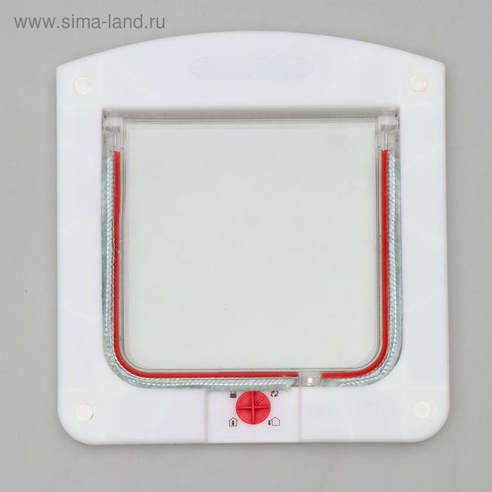 Дверь для животных с 4 режимами блокировки, проем 150 х 155 мм (общий размер 225 х 200 мм), толщина двери до 3 см