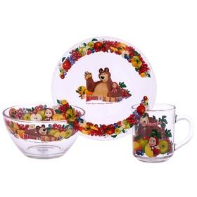 """Набор детской посуды """"Маша и Медведь. Фруктовая корзина"""", 3 предмета: кружка 250 мл, салатник 250 мл 13 см, тарелка 19,5 см"""