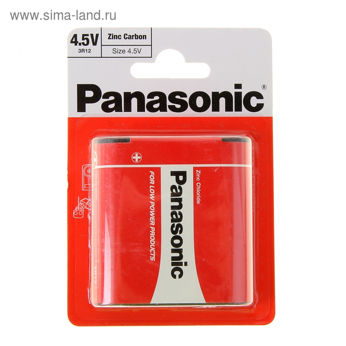 Батарейка солевая Panasonic Zinc Carbon, 3R12-1BL, 4.5В, блистер, 1 шт.