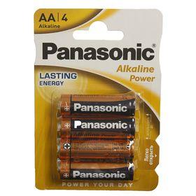 Батарейка алкалиновая Panasonic Alkaline Power, AA, R06-4BL, 1.5В, блистер, 4 шт.