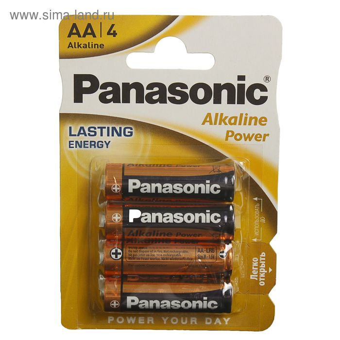 фото Батарейка алкалиновая panasonic alkaline power, aa, r06-4bl, 1.5в, блистер, 4 шт.