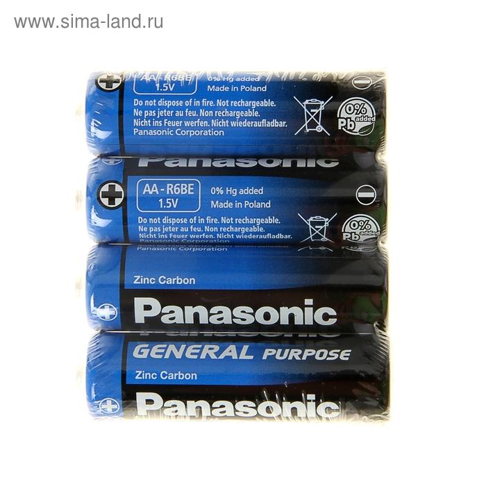 Батарейка солевая Panasonic General Purpose, AA, R6-4S, 1.5В, спайка, 4 шт.