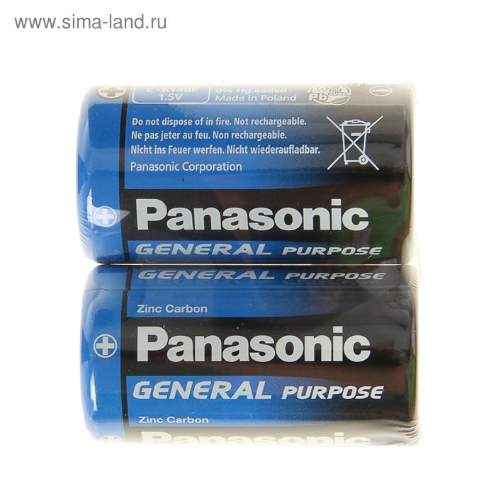 Батарейка солевая Panasonic General Purpose, C, R14-2S, 1.5В, спайка, 2 шт.