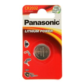 Батарейка литиевая Panasonic Lithium Power, CR2032-1BL, 3В, блистер, 1 шт