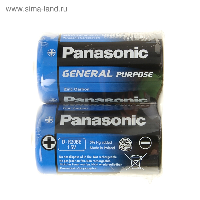 Батарейка солевая Panasonic General Purpose, D, R20-2S, 1.5В, спайка, 2 шт.