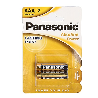 Батарейка алкалиновая Panasonic Alkaline Power, AAA, LR03-2BL, 1.5В, блистер, 2 шт.