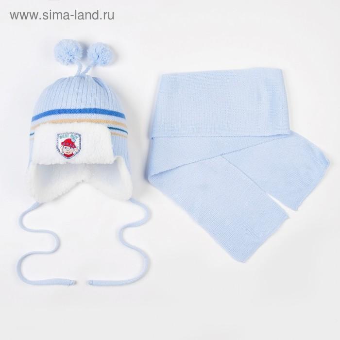 Комплект (шапка, шарф), голубой, размер 42-44 см (3-6 мес)