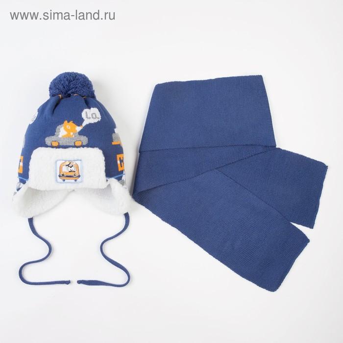 Комплект (шапка, шарф), синий, размер 42-44 см (3-6 мес)