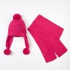 Комплект (шапка, шарф), малиновый, размер 50-52 см (3-4 года)